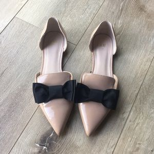 H&M Blush Bow Tie Loafers